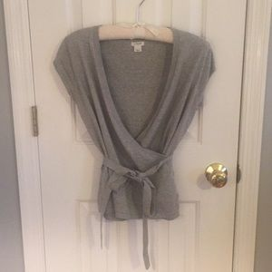 New J. Crew shirt sleeved wrap sweater, size S.